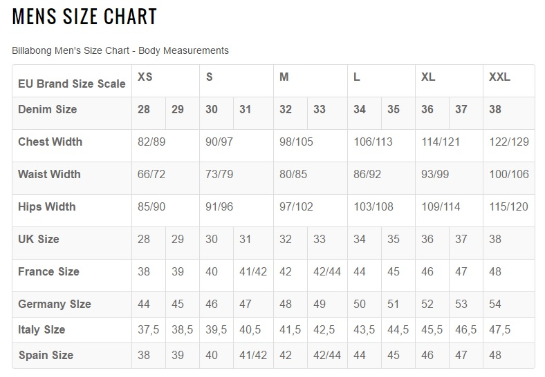 billabong men size chart