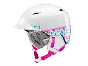 Bern dětská / dámská zimní helma Camina satin white fair isle 17/18